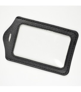 Porte-badge aspect cuir noir vertical
