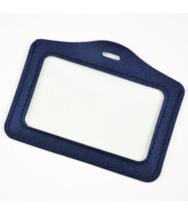 Porte badge aspect cuir bleu horizontal