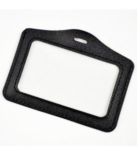 Porte-badge aspect cuir noir horizontal