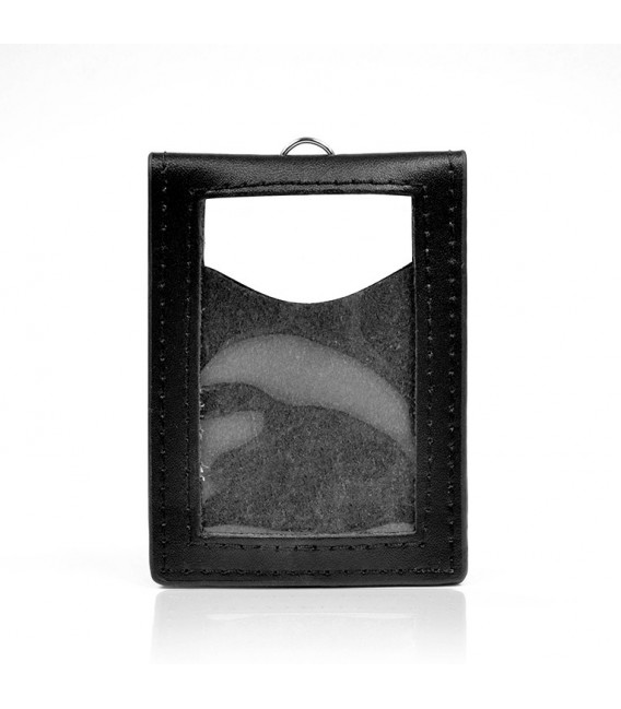 PORTE-BADGE ASPECT CUIR NOIR (lot de 25)