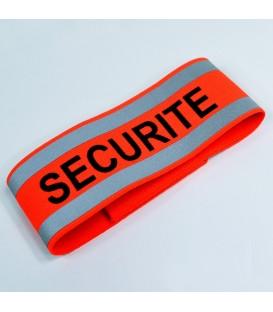 BRASSARD ORANGE RÉFLÉCHISSANT SECURITE (lot de 10)